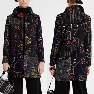 Desigual NEW Penny Patchwork Coat 8 Gray Navy Wool Blend Embroidered Floral